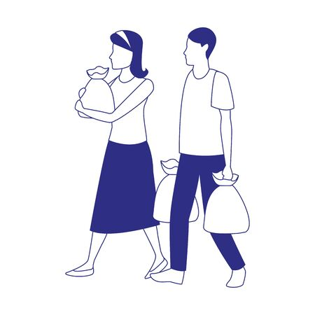 avatar man and woman with supermarket bags over white background, black and white design. vector illustration