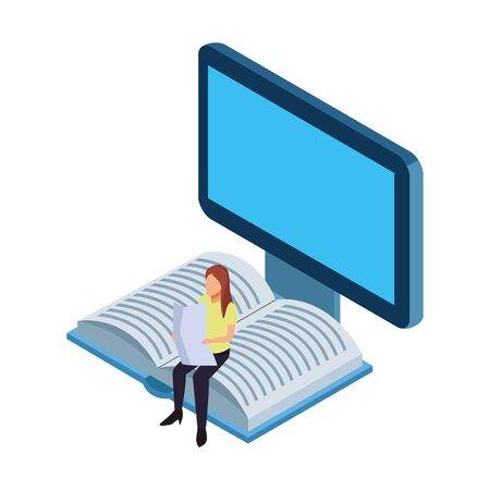 computer and woman reading sitting on a book over white background, vector illustration Illustration