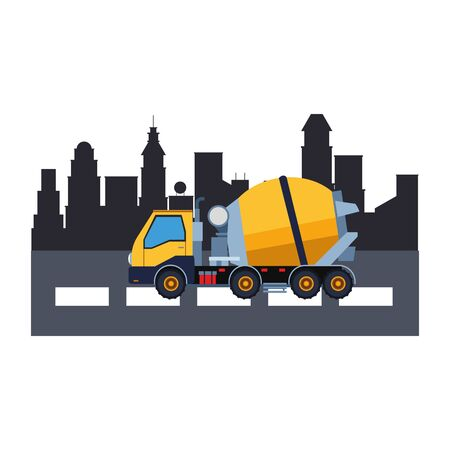 Construction vehicle cement truck in the city scenery vector illustration graphic design