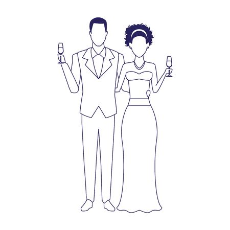 avatar elegant afro groom and bride icon over white background, vector illustration
