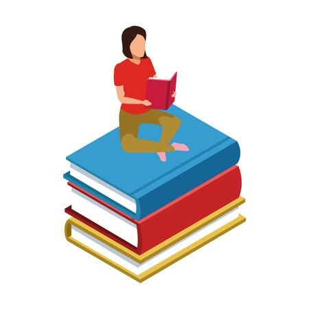 woman reading a book sitting on stack of books over white background, vector illustration Stock Vector - 138180031