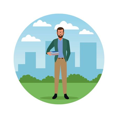 Teacher with books profession avatar in city park scenery round icon vector illustration graphic design
