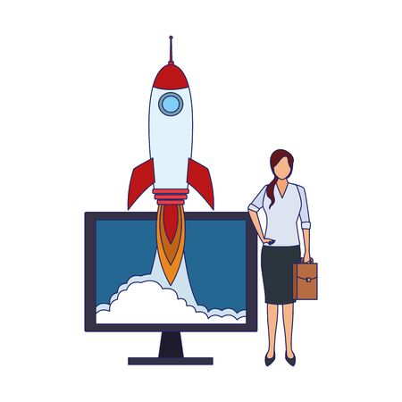 businesswoman with computer and rocket over white background, colorful design, vector illustration Çizim