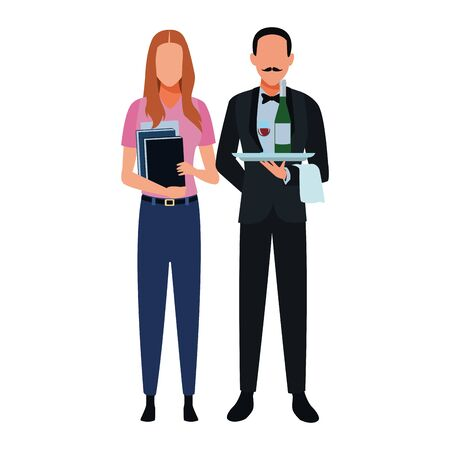 Jobs and professions professionals workers isolated vector illustration graphic design Ilustracja