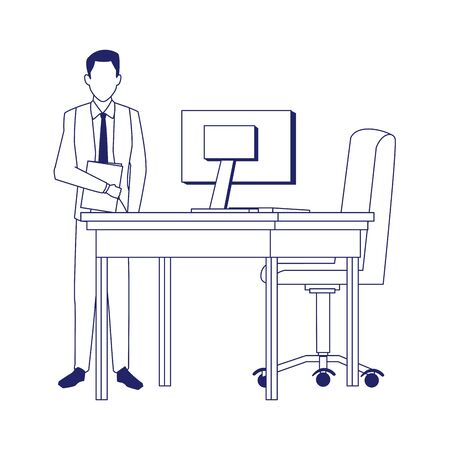 businessman standing next to office chair and desk over white background, flat design, vector illustration Çizim