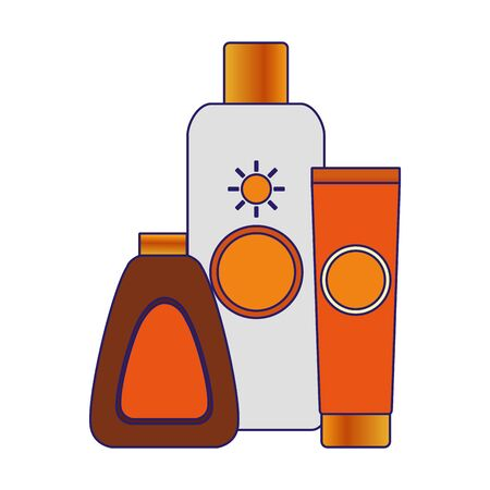 sun bronzers and sunscreens bottles over white background, vector illustration
