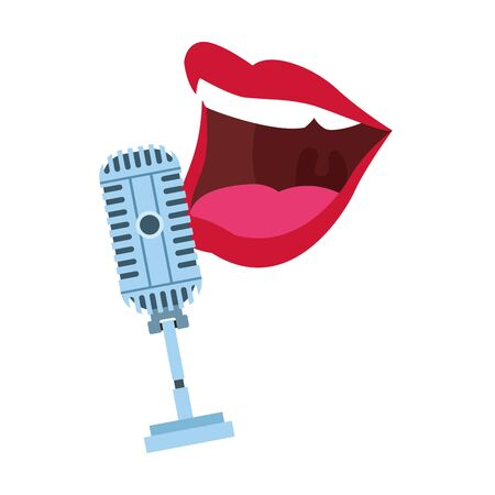 retro microphone and comedian mouth icon over white background, vector illustration Ilustração