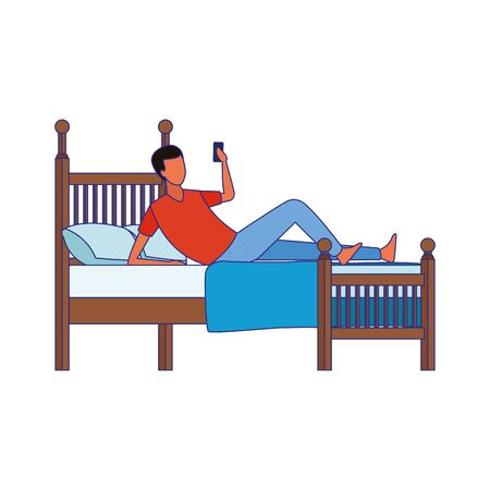 man using a cellphone lying in bed over white background, vector illustration Çizim