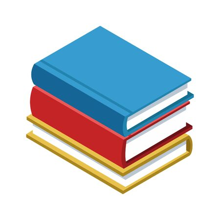 stack of books icon over white background, colorful and flat design, vector illustration
