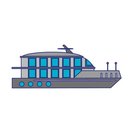 Cruise ship boat sideview isolated vector illustration graphic design