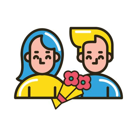 lovers couple with bouquet of flowers vector illustration design