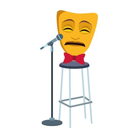 tragedy comedy mask with stand microphone icon over white background, vector illustration