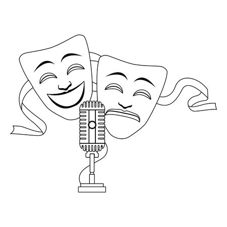comedy and tragedy theater masks icon over white background, flat design, vector illustration