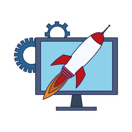 computer with rocket and gear wheels over white background, vector illustration