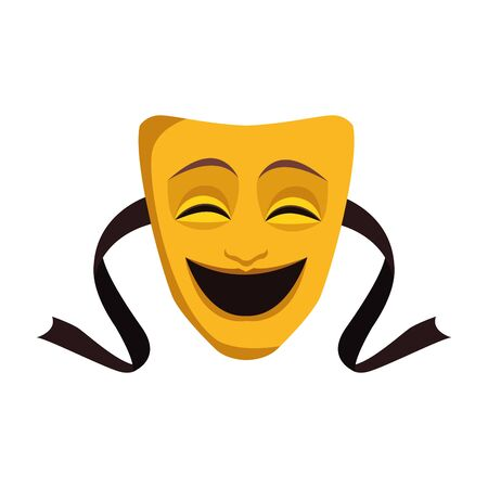 Comedy theater mask icon over white background, vector illustration