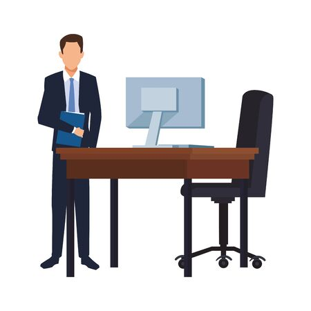 businessman standing next to office chair and desk over white background, vector illustration