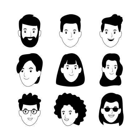 icon set of cartoon people faces smiling over white background, vector illustration