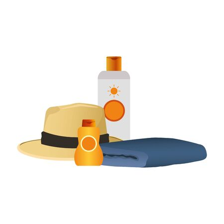 sunblocks bottles with beach hat and towel icon over white background, colorful design, vector illustration