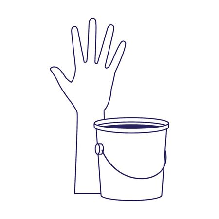 hand with paint bucket icon over white background, flat design, vector illustration