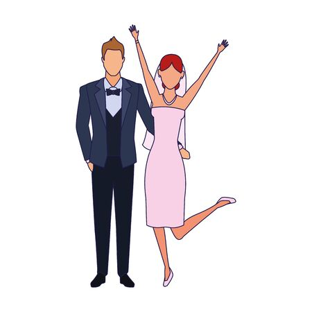 Happy bride and groom standing icon over white background, vector illustration