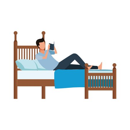 man reading a book lying in bed over white background, vector illustration