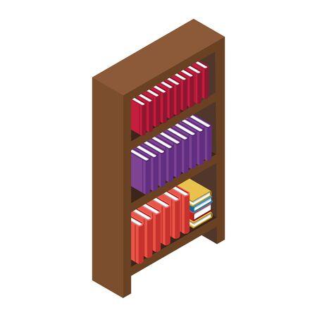 wooden bookshelf icon over white background, vector illustration Illustration