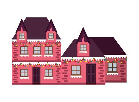 houses with snow winter season vector illustration design