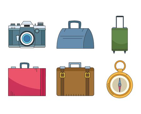 travel suitcases and compass icon set icon over white background, vector illustration Иллюстрация
