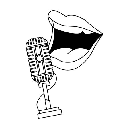 retro microphone and comedian mouth icon over white background, flat design, vector illustration