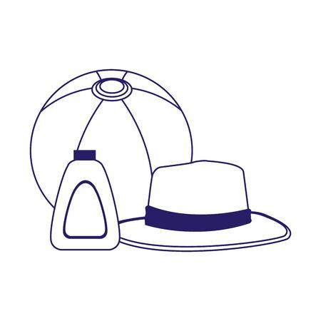 beach ball with hat and sunscreen bottle over white background, flat design, vector illustration Ilustração