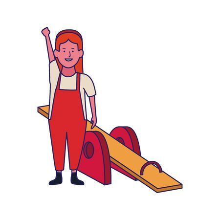 happy woman and seesaw icon over white background, vector illustration