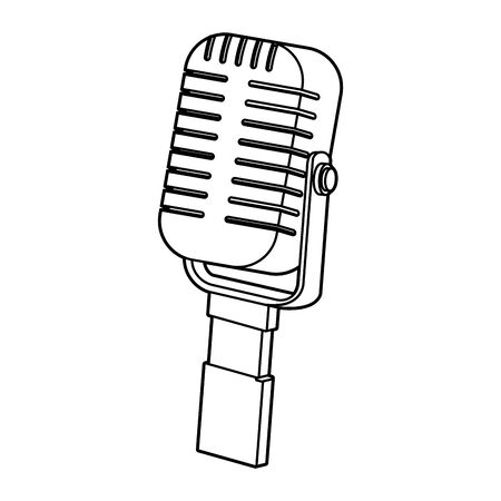 retro microphone icon over white background, flat design, vector illustration