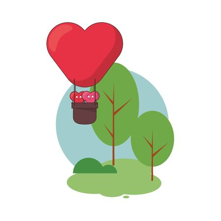 hearts lovers couple in balloon air hot characters vector illustration design  イラスト・ベクター素材