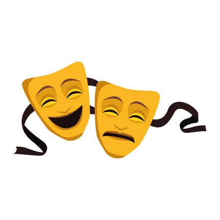 tragedy and comedy theater masks icon over white background, vector illustration