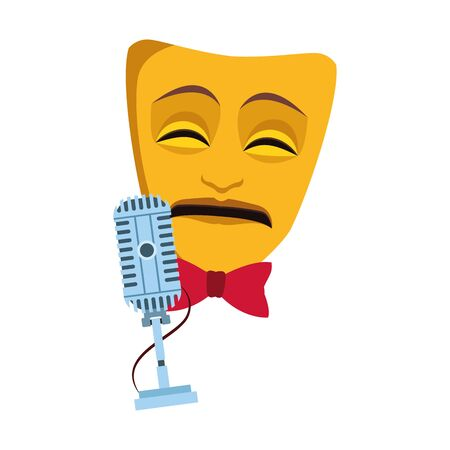 theater mask and microphone icon over white background, vector illustration