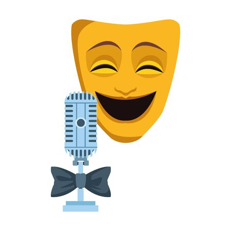 Comedy theater mask and retro microphone icon over white background, vector illustration