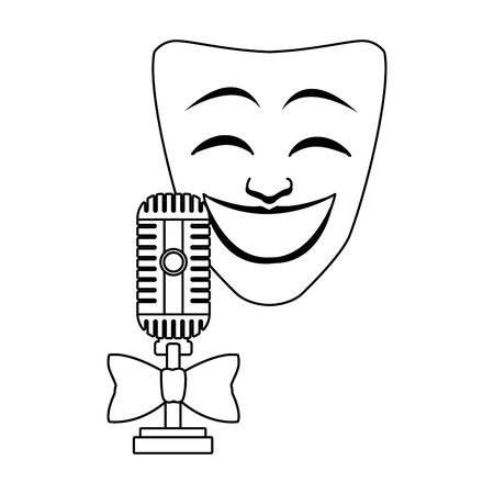 Comedy theater mask and retro microphone icon over white background, flat design, vector illustration