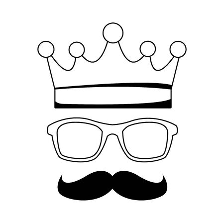 crown with glasses and mustache icon over white background, flat design, vector illustration Stock Illustratie