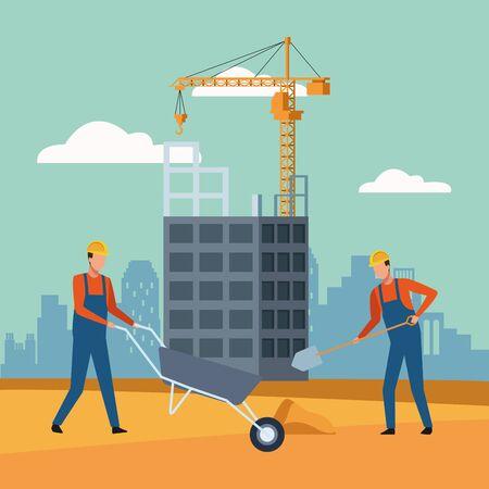 construction workers over under construction scenery background, colorful design, vector illustration Reklamní fotografie - 138140104
