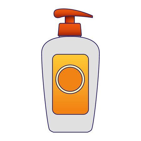 sunblock cream bottle icon over white background, vector illustration
