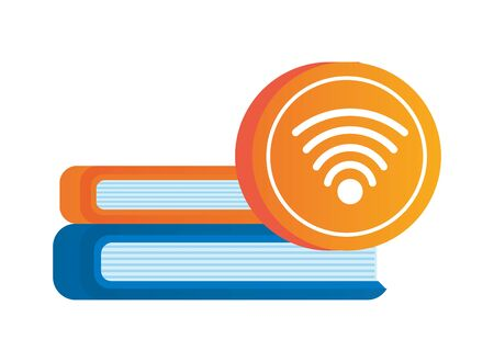 wifi connection signal button with books vector illustration design Illustration