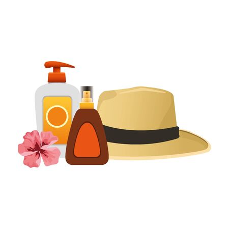 beach hat with sunscreens bottles over white background, colorful design, vector illustration