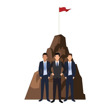 businessmen standing over hill and white background, colorful design, vector illustration
