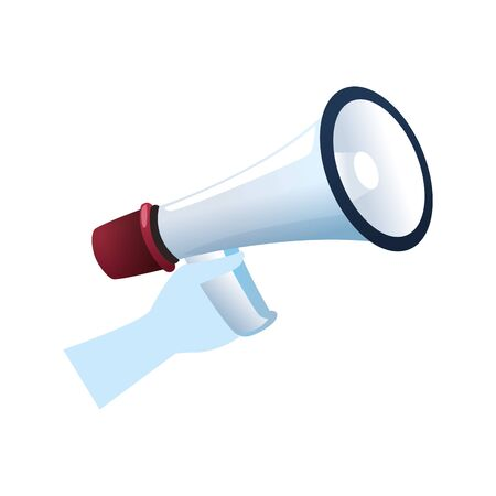 hand holding a megaphone icon over white background, vector illustration