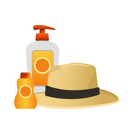 hat and sun bronzer bottle icon over white background, vector illustration