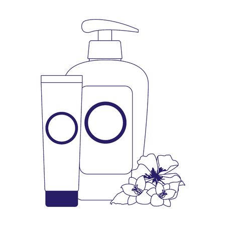 tropical flowers and sunscreens bottles over white background, flat design, vector illustration Illustration