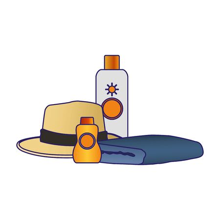 sunblocks bottles with beach hat and towel icon over white background, vector illustration Çizim