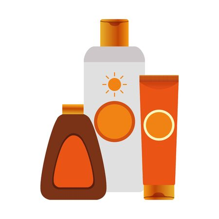 sun bronzers and sunscreens bottles over white background, colorful design, vector illustration
