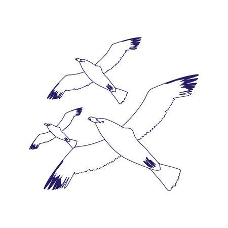 gulls flying icon over white background, flat design, vector illustration Иллюстрация