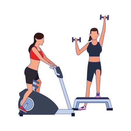 avatar women exercising and lifting dumbbells icon over white background, vector illustration Foto de archivo - 138183553